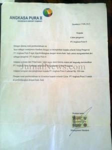 Surat ke empat yang mengtasnamakan PT Angkasa Pura II yang diduga palsu dan bernada ancaman yang diterima korban. (Ron/JN)