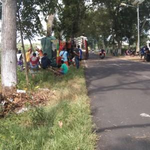 Foto: warga berkerumun melihat truk bermuatan padi terguling.