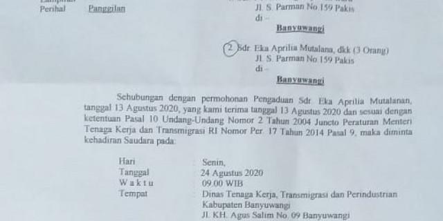 Ijazah Ditahan Perusahaan; Mantan Karyawan Melapor Ke Disnaker Banyuwangi